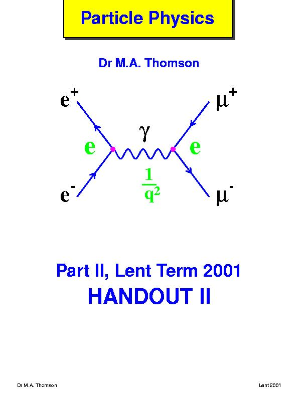 Part Ii Particle Physics Home Page